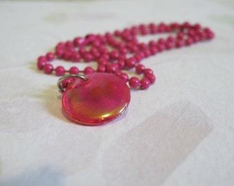 Girls Hot Pink Shiny Pendant on Ball Chain Necklace