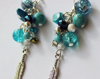 Lovely blue cluster and feather earrings