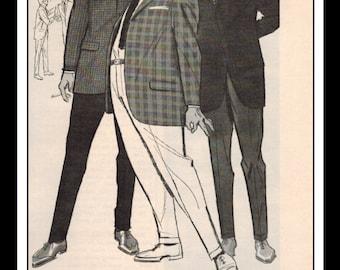 """Vintage Print Ad April 1962 : Rough Rider Sport Coats and Slacks Wall Art Decor 11"""" x 5.5"""" Advertisement"""