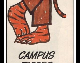 "Vintage Print Ad September 1962 : Dickies Slacks Campus Tiger Wall Art Decor 5"" x 11"" Print Advertisement"