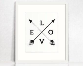 Love word art. Instant download art. Valentines decor. Arrow art print. Wedding decor. Love poster. 5x7, 8x10, 11x14, 16x20 prints