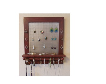 Jewelry Holder, Wall Jewelry Organizer, Mahogany Stained Wood Jewelry Organizer