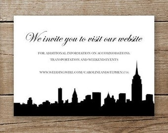 new york city wedding invitation website insert or rsvp card printable digital file download