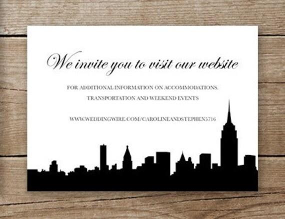 Wedding Invitation Site: New York City Wedding Invitation Website Insert Or RSVP Card