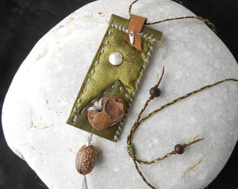Leather Amulet 'Olive Tree' with Silk, Driftwood, Tree Seed and Sterling Silver- hand sewn Talisman Necklace - Protection Amulet - boho