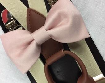 Pale Pink cotton bowties,BOWTIE SUSPENDER SET,beige/cream  suspenders,infant bowties,toddler bowtie,boy bowtie,men bowties,wedding bowtie