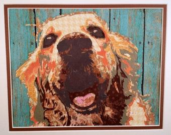 Dog Art - Dog Decor - Dog Lovers Gift - Golden Retriever - Pet Portrait - Cut Paper - Paper Cut - Cut Paper Art -  Hand Cut Paper