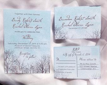 Printed Wedding Invitation, Winter Wedding Invitation, Winter wedding invite, Snow wedding invitation, blue, winter invite, blue wedding