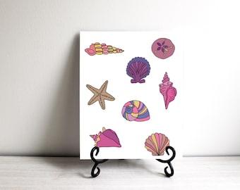 PRINTABLE ART Nursery Shells Beach Art Print Whimsical