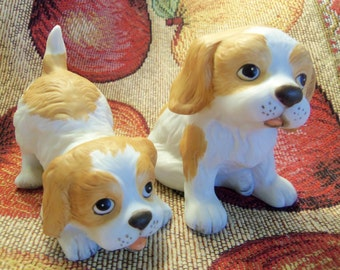 Vintage Homco Brown and White Puppies, set of 2,  marked #1407