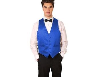 Men's royal blue satin dress vest
