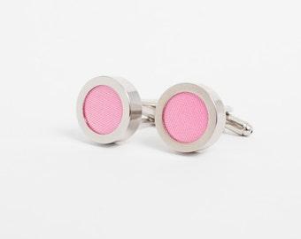 Pink Cuff Links, Pink Cufflinks, Valentines Gift, Second Anniversary Present for Men, 2nd Anniversary Gift, Wedding Cuff Links
