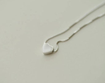 Necklace——925 Sterling Silver Tiny Heart Necklace,Delicate Necklace