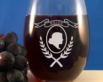 Personalized Stemless Wine Glass-Wine Glasses-Engraved Stemless-Bride-Bridesmaids-Wedding Wine Glass-Etched Glass-Engraved-Free Engraving