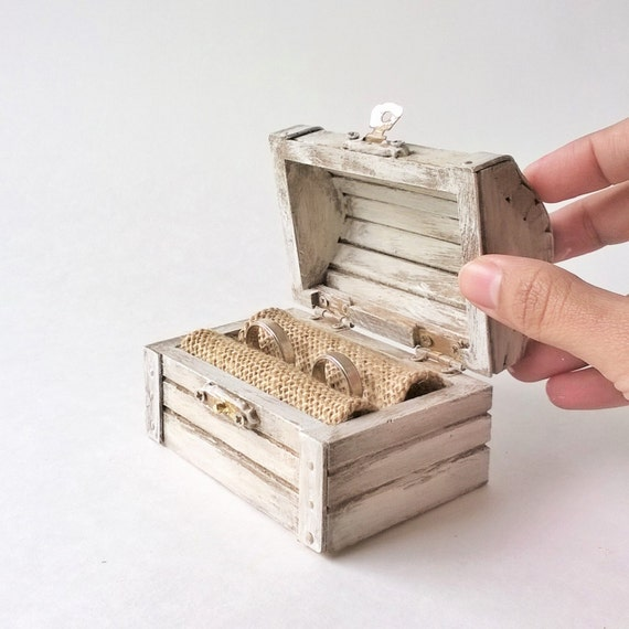 Ring Bearer Box White Treasure Chest Rustic Ring Bearer Box