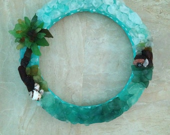 Palm Tree Sea Glass Wreath