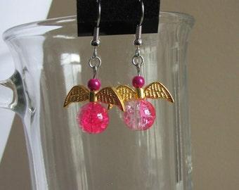 Earrings in the shape of Angel - golden wings
