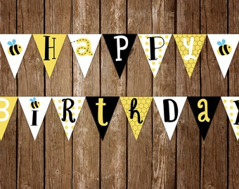 Bumble Bee Birthday Banner, Happy Birthday Banner, Happy Birthday Letter Banner, Honey Bee Party, Bumble Bee Party Printables