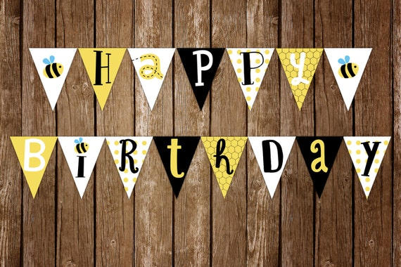 happy birthday letter banner items similar to bumble bee birthday banner happy 8105