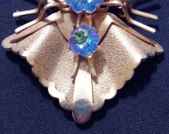 Gold toned Spider Pin with Peridot, aquamarine, and emerald stones