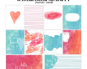 Watercolor Me Happy- 3x4 & 4x6 Project Life Inspired digital printable scrapbooking journaling and filler cards- instant download