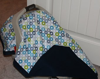 Navy Circles Flannel Carseat Cover
