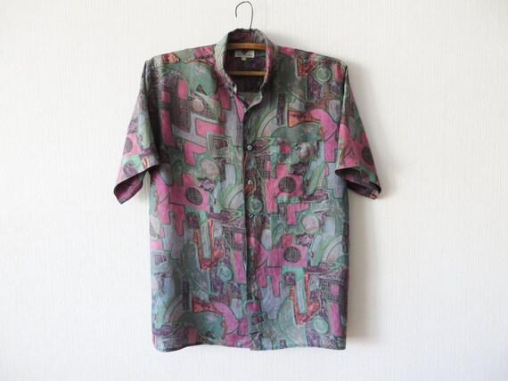 Vintage christian dior men 39 s silk shirt abstract print for Christian dior button up shirt