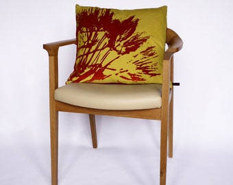 Lime Green Decorative Pillow / Red Cushion / Contemporary Throw Pillow / Modern Cushion Velvet