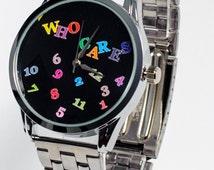Neon Black Faced Analog Watch for Men Women, Fun Watchband, Stainless Steel Wrist Watchband, Mens Womens Birthday Gift Handmade Analog Watch