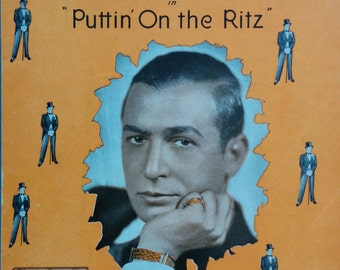 With You, Puttin' On the Ritz, 1929 Vintage Sheet Music, Irving Berlin, ukulele, banjolele, chords, Cover art gentleman, orange