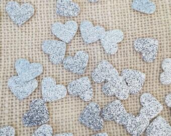 Silver Glitter Heart Confetti,Wedding Confetti,Bridal Shower Decor,Silver Wedding Decor,Silver Glitter Heart,Table Decor, Party Confetti