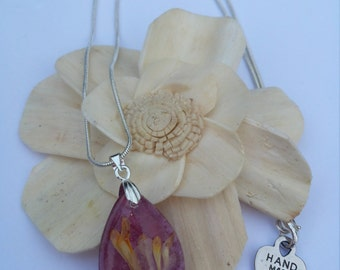 "Real Pressed Flowers Purple Resin Pendant Neklace 18"" Silver Plated Chain"