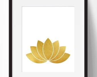 Lotus print, gold print, gold wall decor, yoga print, lotus flower printable, yoga art, gold decor, gold wall art, instant download, 18x24