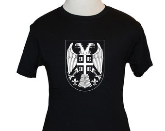 Serbia T-Shirt - Coat of Arms - Black (S M L XL) - All White Logo - American Apparel, Canvas or Gildan