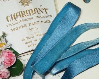 "5/8"" TURQUOISE SILK BLUE Antique French Velvet Ribbon Boho Choker Necklace Jewelry Doll Dress Victorian Edwardian Millinery Hat Fabric Trim"