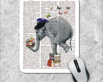 Dictionary Art Mousepad, Elephant Mouse Pad, Floral Mouse Mat,  Custom Mousepad,  Butterfly Mouse Pad, Vintage Mousepad, Dictionary Page Art