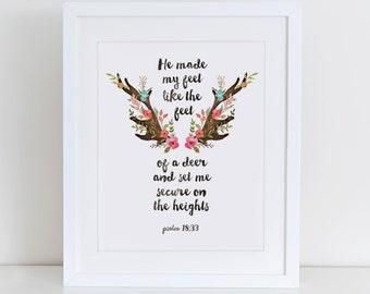 Psalm 18:33 Bible Verse Deer Motivational Printable Art Print, Inspirational Art, Instant Download,  Printable Home Decor, Digital Art Print