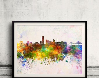 Yokohama skyline in watercolor background 8x10 in to 12x16 Poster Digital Wall art Illustration Print Art Decorative  - SKU 0136