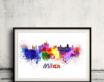 Milan skyline in watercolor over white background with name of city 8x10 in. to 12x16 in. Poster Wall art Illustration Print  - SKU 0278