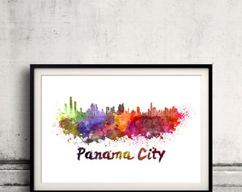 Panama City skyline in watercolor over white background with name of city 8x10 in. to 12x16 in. Poster art Illustration Print  - SKU 0274