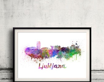 Ljubljana skyline in watercolor over white background with name of city 8x10 in. to 12x16 in. Poster Wall art Illustration Print  - SKU 0307
