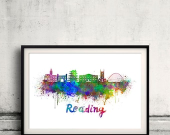 Reading skyline in watercolor over white background with name of city 8x10 in. to 12x16 in. Poster Wall art Illustration Print  - SKU 0382
