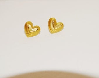 Vintage 14k Yellow Gold Small Heart Earrings