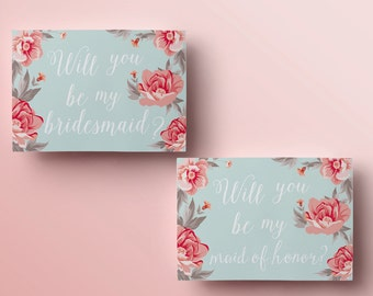Printable will you be my bridesmaid card mint will you be my printable will you be my bridesmaid card floral will you be my maid of honor pronofoot35fo Image collections