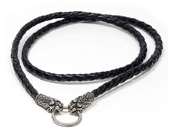 Lions Leather cord for pendants with Lions. Braided or smooth leather cord. NECKLACE with Lions