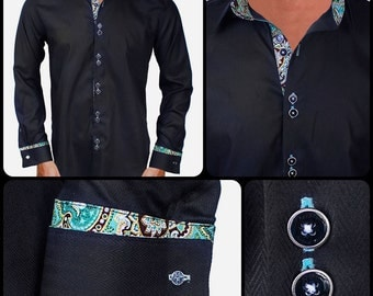 Black with Metallic Gold and Teal Designer Dress Shirt - Made To Order in USA