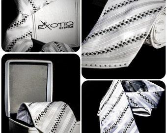 White Rhinestone Italian Silk Tie in Faux Leather Box