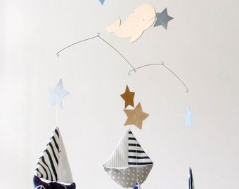 Baby Mobile - Sailboat Mobile - Baby boy mobile - ship mobile - boy mobile -  stars baby mobile - Nautical Nursery Decor - Baby crib mobile