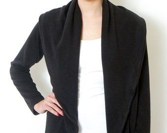 Womens Clothing-Black Cardigan, Womens Black Jacket,Black Oversized Cardigan,Black sweater,Womens Tops