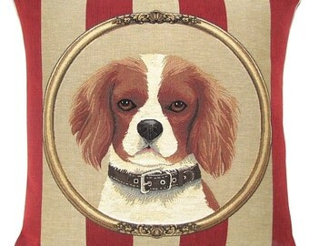 King Charles Cavalier Pillow Cover - 18x18 Belgian Tapestry Dog Cushion Cover - King Cavalier Throw Pillow - PC-5334